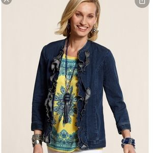 Chico's ruffle denim jacket.